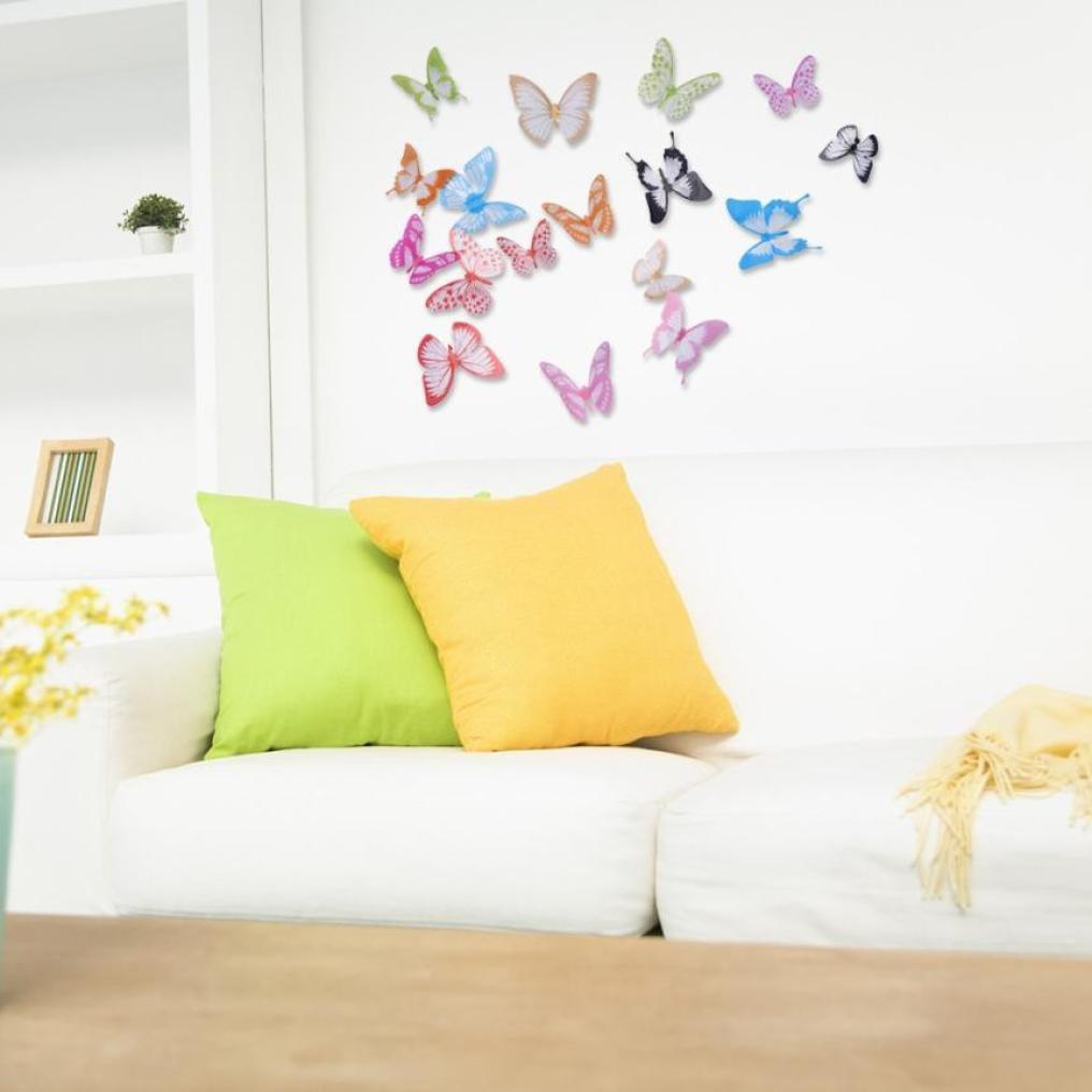 Amazon.com: Hatop 12pcs 3D Butterfly Sticker Art Design Decal Wall ...