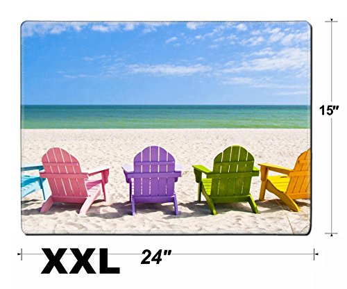 - Liili Extra Large Mouse Pad XXL Extended Non-Slip Rubber Gaming Mousepad 24x15 Inch, 3mm thick Stitched Edge Desk Mat Adirondack Beach Chairs on a Sun Beach in front of a Holiday Vacation Travel house