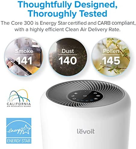 LEVOIT Air Purifier for Home Allergies Pets Hair Smokers in Bedroom, H13 True HEPA Air Purifiers Filter, 24db Quiet Air Cleaner, Remove 99.97% Smoke Dust Mold Pollen for Large Room, Core 300, White 51f3QmO2AXL