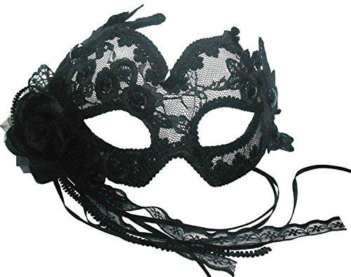 Flowery Dress Halloween Costume (Black Transparent Flowery Eye Mask)