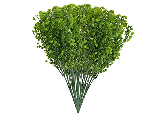 EZFLOWERY 8 Bundles Artificial Bell Leaves, Fake Plants, Green Shrubs, Bushes, for Indoor, Outdoor, Home, Garden, Wedding Decoration (8 Pack, Bell Leaves - Green) ()