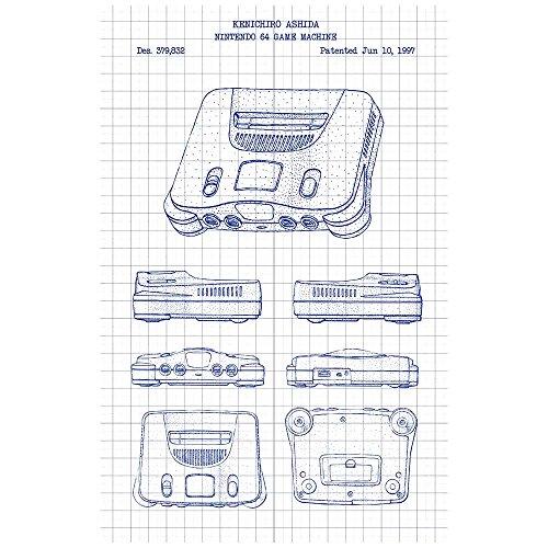 Inked and Screened SP_VIDG_379,832_WG_17_A Nintendo 64 Machine N64 Game Console Silk Screen Print, 11