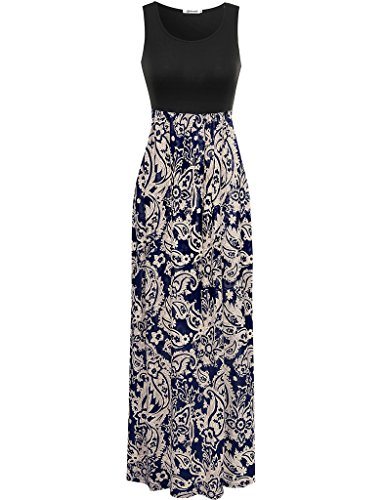 Aphratti Women's Bohemian Sleeveless Maxi Long Dress with Elastic Waistband X-Large Multi/Coffee Print