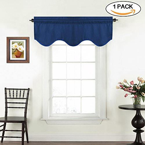 Energy Saving Solid Window Valances for Living Room Bedroom Rod Pocket Curtain Valance Blue for Bathroom / Kitchen Windows, 1 Pack, 52 inch x 18 inch. Dutch - Gray Dark Blue