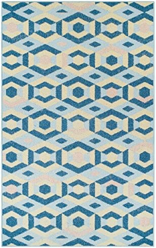 Superior Polygon Collection Area Rug, 6mm Pile Height with Jute Backing, Affordable and Contemporary Rugs, Multicolored Pastel Geometric Pattern – 5 x 8 Rug, Blue