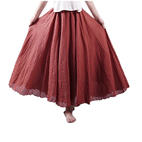 Asher Women's Bohemian Style Elastic Waist Band Cotton Linen Long Maxi Skirt Dress (95CM, Rust Red)