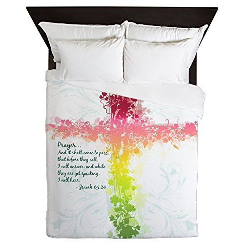 Queen Duvet Cover Christian Faith Bible Prayer Cross by Royal Lion