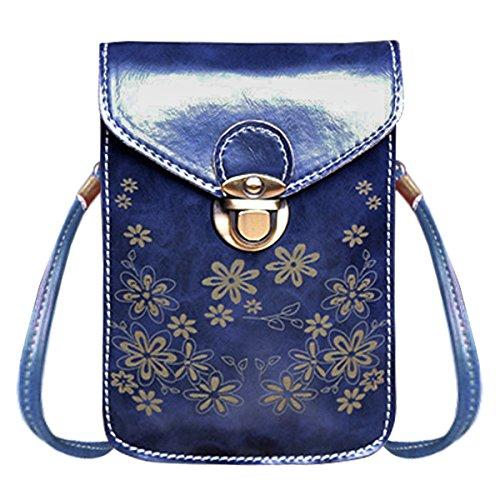 PU avec Bleu Portefeuille Fille Bandoulière Fleurs Cuir Smartphone Sasairy de à foncé Pochette Femme et à pour Sac Motif en qwU4IY