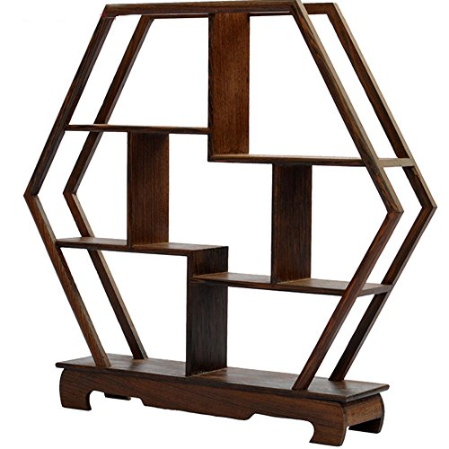 (NWFashion Chinese Wooden Assemble Display Stand Home&Office Square Decoration Curio Cabinets Shelf (1))