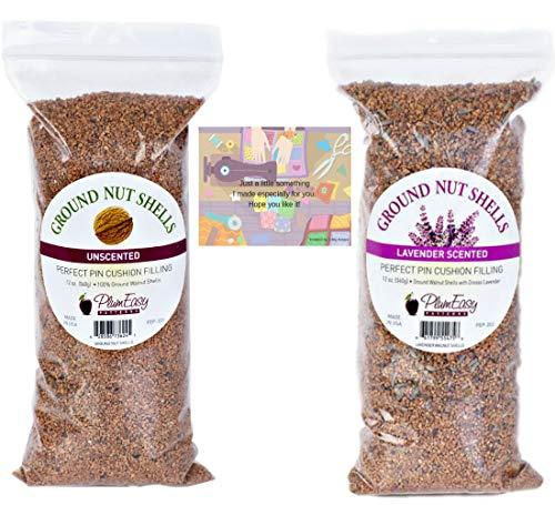 Ground Walnut Shells for Pincushions-11 oz Unscented and 11 oz Lavender Scented-2 Bags Total Plus 2 Mini Gift Card