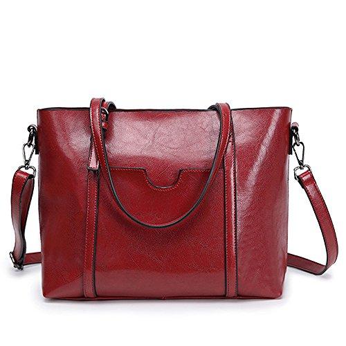 Vincico Womens Red Fashion Vintage PU Leather Tote Shoulder Bag Handbag Purse Satchel Bags (Polka Dot Handbag Hobo)
