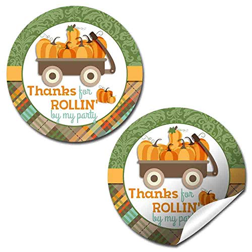 - Little Wagon Full of Pumpkins Birthday Party Thank You Sticker Labels, 40 2