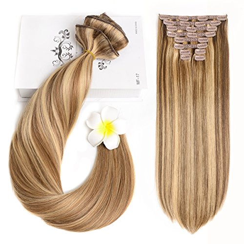 "20"" Hair Extensions Clip in Human Hair Real Hair Clip in Extensions 160gram/5.6oz 10 Pieces Light Brown Mixed Natural Blonde(P8/24#)"