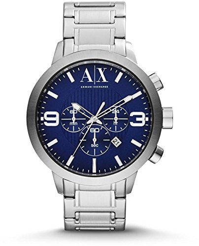 Armani Exchange Chronograph Blue Dial Stainless Steel Mens Watch AX1358 -