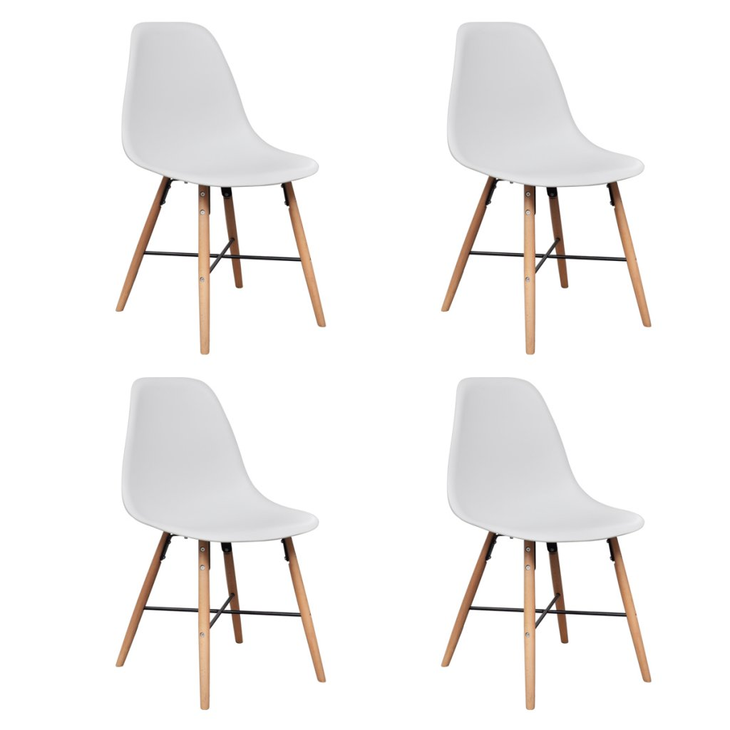 Modern Eames Style Dining Armless Side Chair White Molded ABS Plastic Dining Chair with Eiffel Natural Walnut Wood Base Legs, for Dining Room Waiting Room Bedroom Kitchen - Set of 4