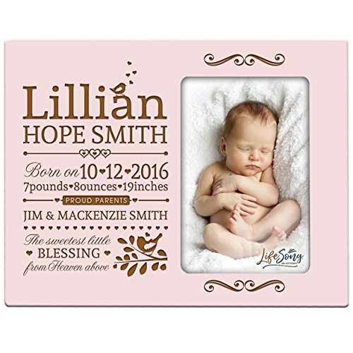Personalized New Baby birth announcement picture frame for newborn boys and girls Custom engraved photo frame for new mom and dad parents and grandparents ()