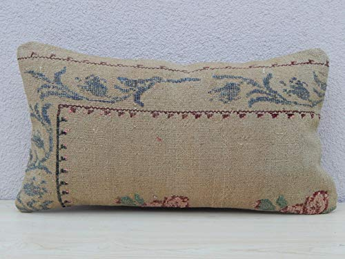 - Floral Needlepoint Tapestry Aubusson Large Kilim Rug Pillow Cover, Oblong Kilim Cushion Cover, Ethnic Turkish Pillow 12'' X 20'' (30 x 50 Cm)