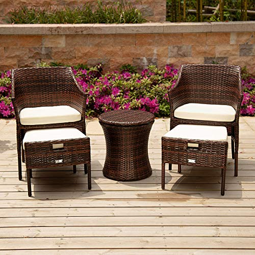 PAMAPIC 5 Pieces Outdoor Wicker Patio Furniture Sets, All-Weather Wicker Chairs with Ottoman, Patio Cool Bar Table Perfect for Indoor, Outdoor Garden, Park, Porch, Poolside and Yard.