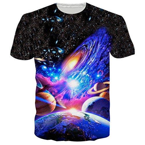 RAISEVERN Mens Galaxis 3D Druck Hipster Hemd mit Kurzen Ärmeln Lässige Graphics Tees XL