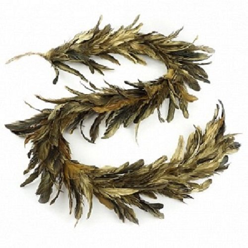 (Gold Gilded Feather Christmas Garland - Black Holiday, Home, Wedding)