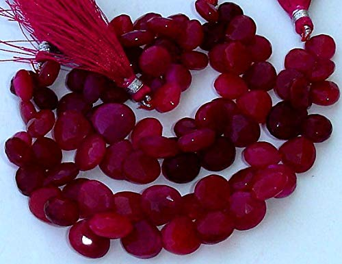 JP_BEADS New Stock, 6 Inches Strand, Rare DEEP Ruby Red Chalcedony Micro Faceted Heart Briolettes,8-10mm Long Size,Gorgeous.