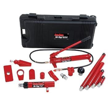 Image of Porto-Power B65115 Black/Red Hydraulic Body Repair 19 Piece Kit - 10 Ton Capacity Collision Repair Sets