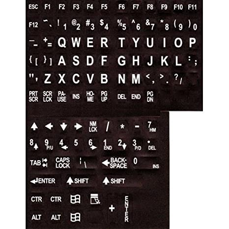 Large Print English Keyboard Stickers w// Black Letters