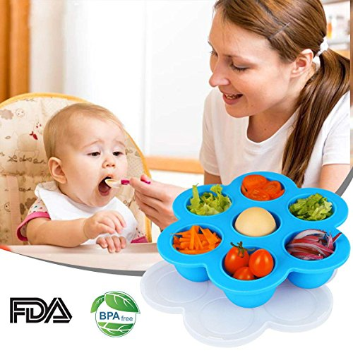 Silicone Storage Container, Aiduy Egg Bites Mold Resuable Baby Food Mold Pan Freezer Ice Cube Tray with Lid for Instant Pot Accessories - FDA Approved and BPA Free