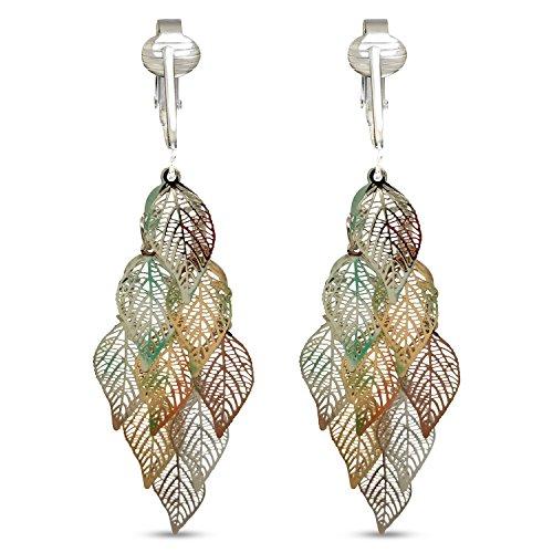 Beautiful Dangle Clip On Earrings for Women, Girls, Bohemian Drop Butterfly, Dragonfly, Leaves, Flowers (Silver Leaves)