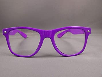 6bf1428a510 Amazon.com   Purple frame Clear lens risky business retro 80s style  sunglasses glasses nerd   Beauty