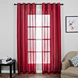 Top Finel Voile Red Sheer Curtains Panels Window Treatment For Living Room Bedroom Width 54 X 84 inch Length, 2 Panel Set,Grommets,Red