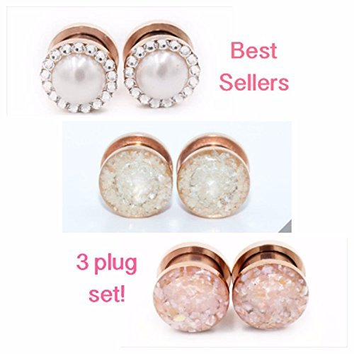 Set of 3 Rose Gold Plugs / 6g, 4g, 2g, 0g, 00g, 1/2, 9/16, 5/8, 11/16, 3/4 / Pearl Crystal Plugs / Champagne Rose Plugs / Plug Set by Defiant Jewelry