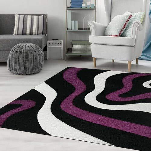 Teppich Wohnzimmer Modern Gestreift Wellen Konturen Farbe Schwarz Lila Pflegeleicht 160x230 cm