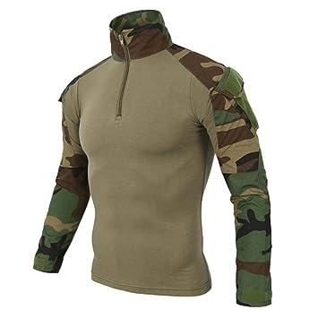 Logobeing Chaqueta de Hombre Tácticas Ejército de Manga Larga Musculoso Musculoso Básico Sólido Blusa Camiseta Sudaderas
