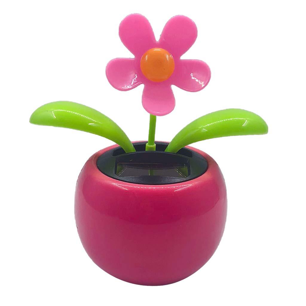 F Fityle Blumen Solar Wackelfigur Solarfigur Solarwackelfigur Tanzende Figur Dekofiguren - Rose