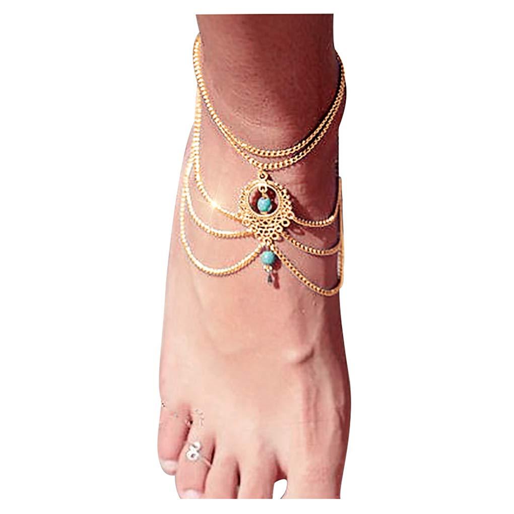 Gleamart Creux Multicouche Turquoise Perles Glands Bracelets de Cheville Sandales de Plage Cha/înes Barefoot Cheville Lien