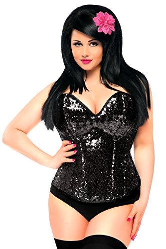 Daisy corsets Women's Top Drawer Black Sequin Steel Boned Corset, Small -