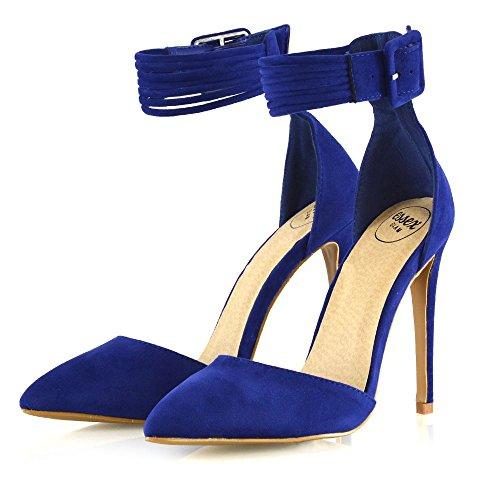Essex Glam Donna Stiletto Tacco Alto Scarpe A Punta Cinturino Alla Caviglia Cinturino Alla Caviglia Scarpe In Finta Pelle Scamosciata Blu