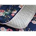3-pcs-set-Boho-Floral-Ruffle-Baby-Minky-Blanket-Water-color-Peach-Floral-Nursery-Crib-Skirt-Set-Baby-Girl-Crib-Bedding-Navy-Blue
