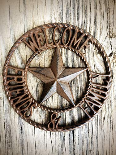 Rustic Brown Friends and Family Front Door Welcome Sign - Large Western Star Metal Plaque - Farmhouse Entryway Decor ()