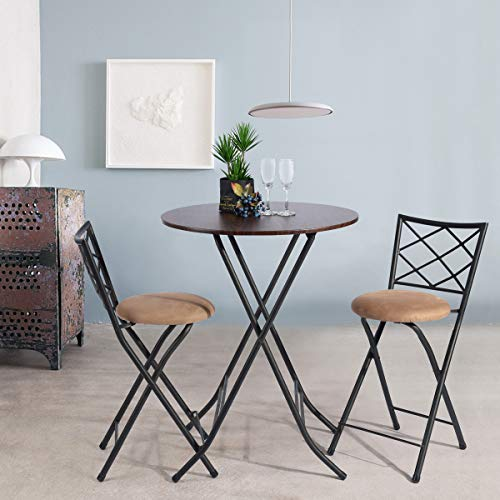 Framodo 3 Piece Folding Counter Height Pub Dining Table Set, No-Assembly Round High Breakfast Table with 2 Cushioned Folding Bar Stool Chairs ()