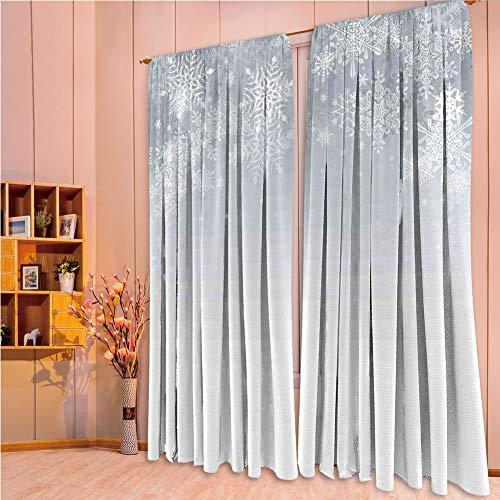 House Decor Collection Living Room Bedroom Curtain 2 Panels Set by,Winter Decorations,Christmas Back with Snowflake Figures and Fairy Stars Lights Magic Design,Silver,108.3