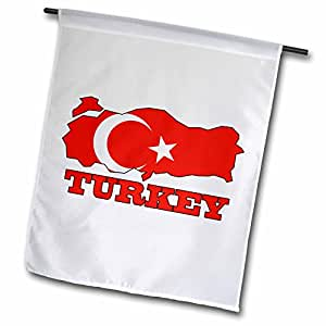 777images Flags and Maps - The flag of Turkey in the outline map and name of the country, Turkey - 18 x 27 inch Garden Flag (fl_63212_2)