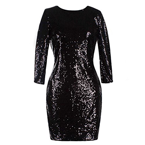 Women's 3/4 Sleeve Sparkle Glitter Sequin Bodycon Dress Evening Night Club Flapper Party Cocktail Mini Dress Black (3/4 Birthday Sleeve)