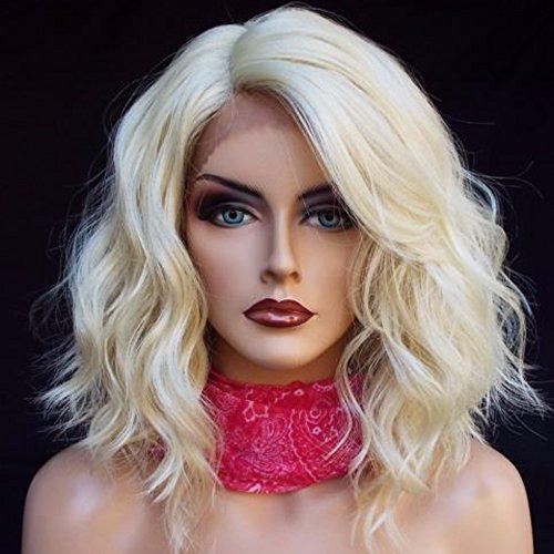 Kerrywigs Short Wavy Platinum Blonde Full Lace Human Hair Wigs Brazilian Hair 130 Density #60 Bob Glueless Lace Front Wigs Baby Hair For Women