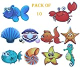 MIA GENOVIA Bath Tub Stickers Non Slip Adhesive Bathtub Decals Anti Slip Kids Shower Safety Sea Animals Decal Bathroom Accessories Sets (Pack of 10, Kids Friendly)