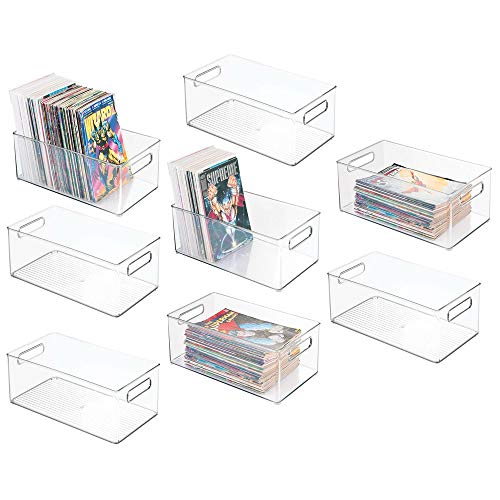 - mDesign Plastic Home Storage Organizer Container Bin with Handles for Closets, Cabinets, Shelves - Hold DVDs, Video Games, Head Sets, Controllers, Comics, Movies - 14.5