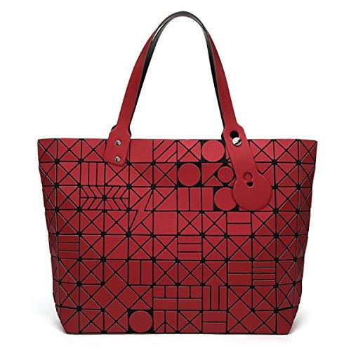 Bolso Geométrico Mate De La Moda Del Bolso Del Rhombus Del Bolso De Las Mujeres,RoseRed Red