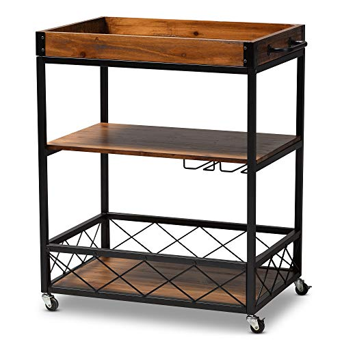 Baxton Studio 153-9040-AMZ Wine Carts, One Size, Golden Oak Black