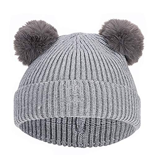 - Toddler Baby Beanie Hat Knitted Warmer Slouchy Soft Cap with Pompom for Boy Girl